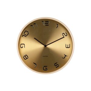 Wall Clock Bent Wood Gold Plated