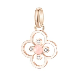 Pendant Rose Gold Pvd with White Swarovski Crystals and Rodonite Cabochon