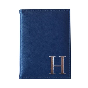 Monogram Passport Cover Navy with Silver Letter H