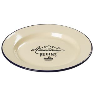 Enamel Plate Cream Body Blue Rim