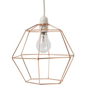 Wire Hexagon Lampshade Copper