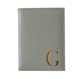 Monogram Passport Cover Grey with Gold Letter G