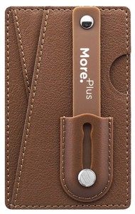 More Plus Magic Push Card Mobile Grip with Card Holder Brown