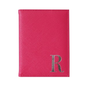 Monogram Passport Cover Fuchsia with Silver Letter R