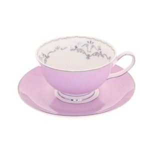 Miss Darcy Bird Teacup and Saucer Lavender and Silver