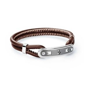 Bracelet Marine 215mm In Stainless Steel and Brown Leather and Pvd Gun