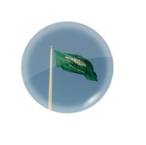 Glass Magnet Jeddah Flagpole Round D1
