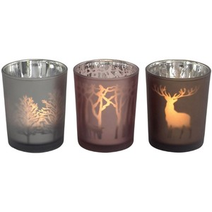 Woodland design reflective tealight holder
