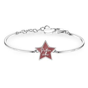 Stainless Steel Bracelet with Red Enamel