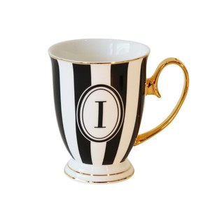 Alphabet Stripy Mug Letter I Black White