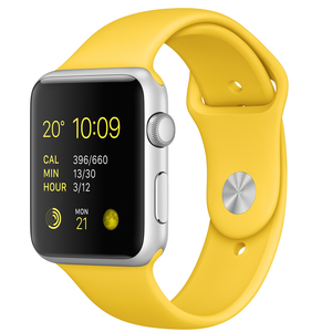 Apple Watch Sport 42mm Silver Aluminium Case With Yellow Band