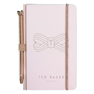 Ted Baker Mini Notebook & Pen Pink Bow