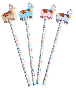 Cute Llama Design Pencil And Eraser Set