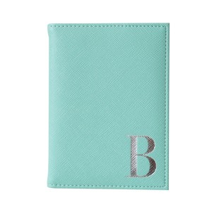 Monogram Passport Cover Mint with Silver Letter B