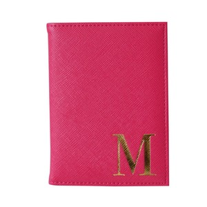 Monogram Passport Cover Fuchsia with Gold Letter M