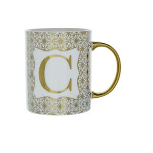 8X9.7Cm Mug Initial C Patterned Gold