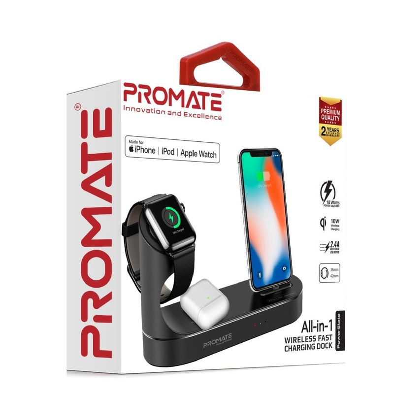 Promate Apple MFI Charging Dock Lightning 18W Pd 10W Wireless Charger for AirPods & Smartphones Apple Watch Charger Black