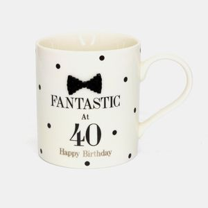 Mad Dots Blk Tie 40Th Mug