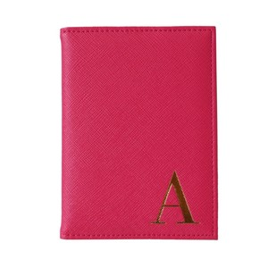 Monogram Passport Cover Fuchsia With Gold Letter A