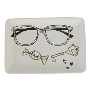 18X2.1X12Cm Trinket Dish - Glasses