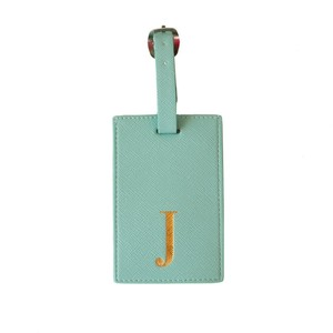 Monogram Luggage Tag Mint with Gold Letter J