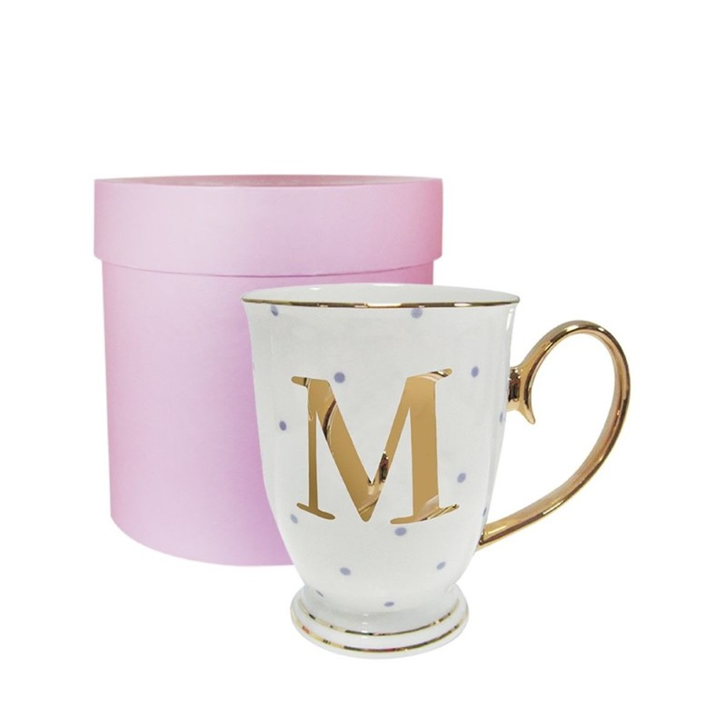 Alphabet Spotty Metallic Mug Letter M Gold with Lilac Spots