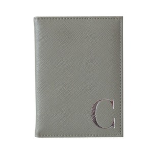 Monogram Passport Cover Grey with Silver Letter C