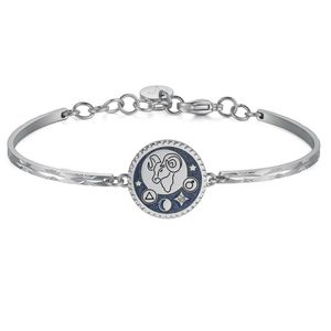 Aries Energetic Brave Curious 316L Stainless Steel Glitter Blue Enamel And Crystal Swarovski Crystal