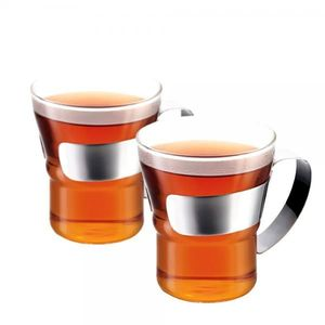 Bodum Assam Glass with Steele Handle 0.3L [Set Of 2]