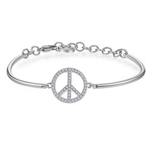 Peace Symbol In Stainless Steel with Swarovski Crystals