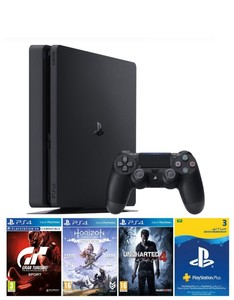 Sony Playstation 4 500GB Console + 3 Games + Ps Plus 90 Days Subscription