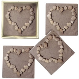 Set 4 Stone Heart On Beach Coasters