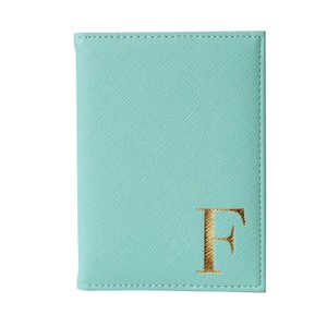 Monogram Passport Cover Mint with Gold Letter F