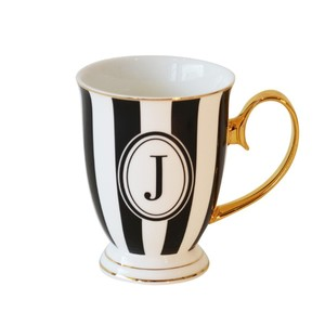 Alphabet Stripy Mug Letter J Black White