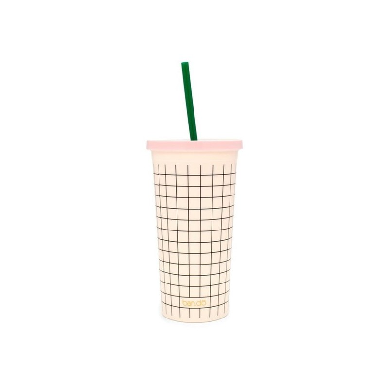 Ban.Do Sip Sip Mini Grid Pink Cream 20Oz Tumbler with Straw
